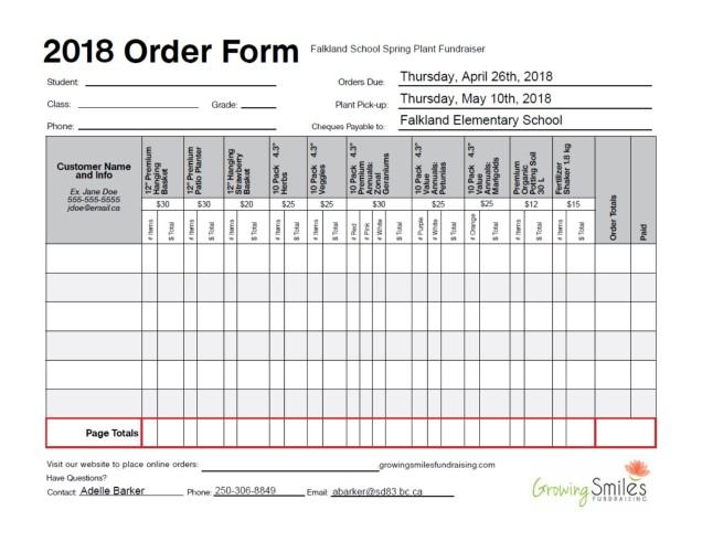 2018 Order form