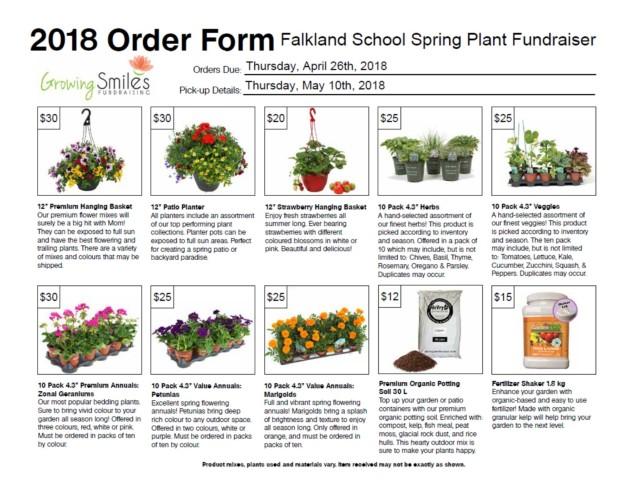 2018 Order Information