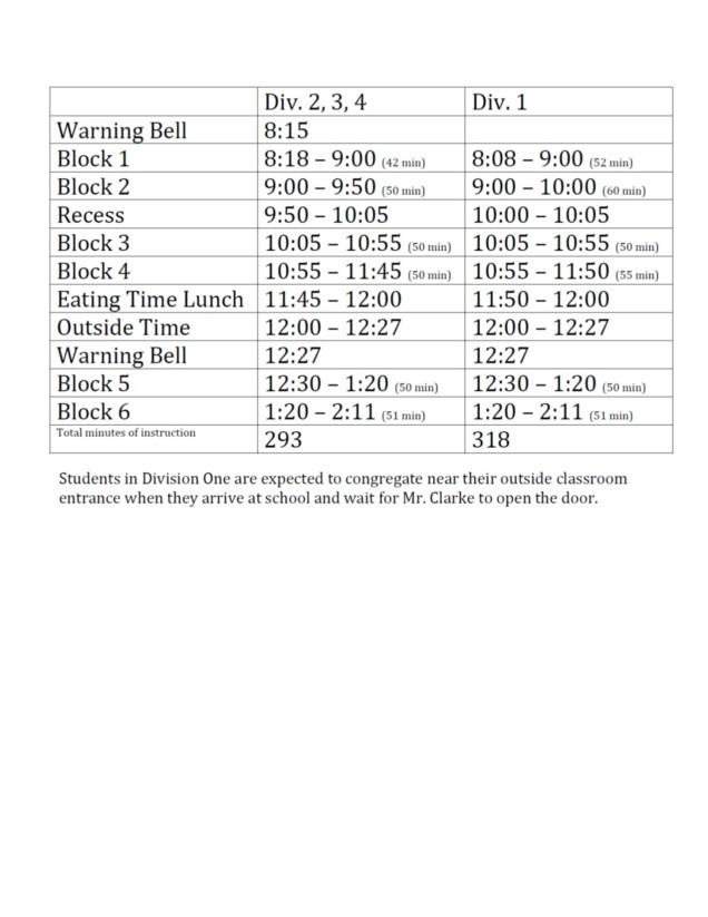 Bell Schedule 2018-2019