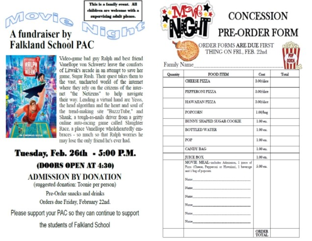 PAC Feb. Movie Night