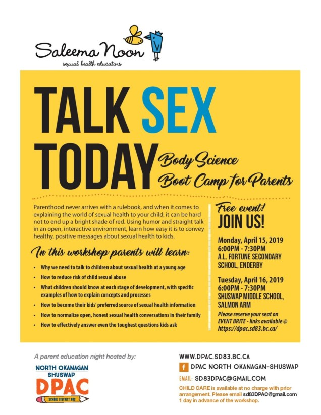 Talk Sex Today Parent Workshop Flier
